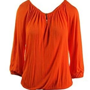 Ralph Lauren Women's Jersey Pullover Keyhole Top